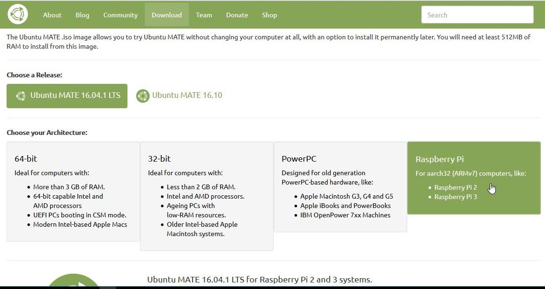 [ubuntu] Ubuntu MATE 16.04 LTS for Raspbery Piのダウンロード(windowsを使用)