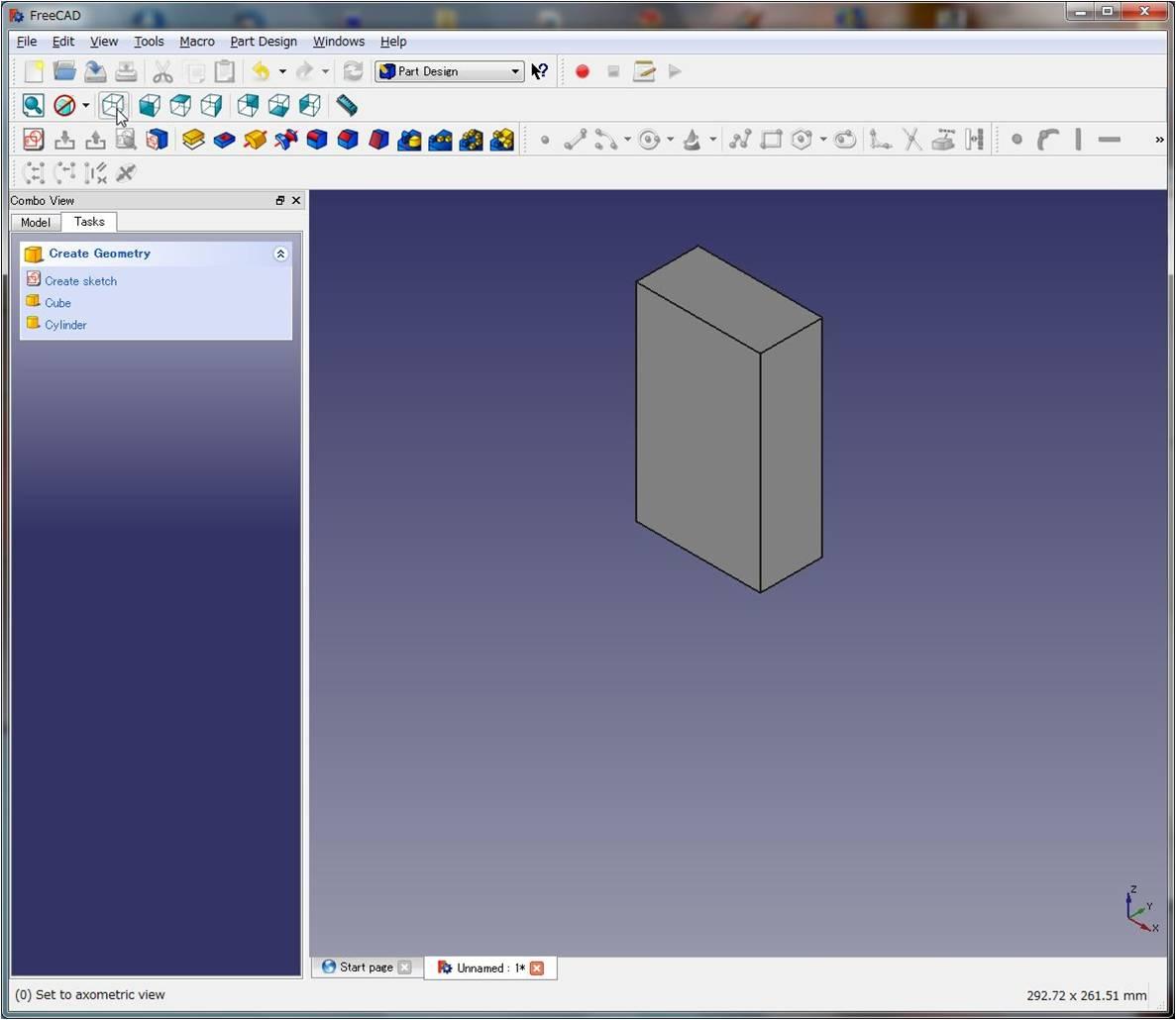 [FreeCAD] スケッチで平面図を描きパッドで押し出す。 [v0.15]